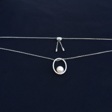 cheny s925 sterling silver December new natural pearl necklace female French fashion fit Monaco circle oval sweater chain цена 2017