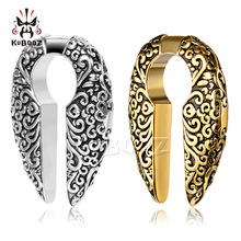 KUBOOZ Trendy Popular Stainless Steel Gold Flower Pattern Ear Weight Body Piercing Jewelry Ear Clip Gauges Expanders Stretchers