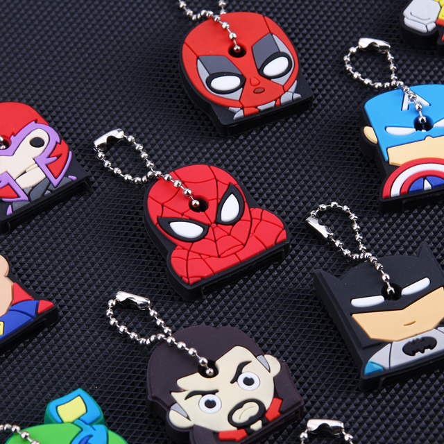 Cartoon Anime Keychain Cute Silicone Batman Spiderman Key Cover Cap Women Gift Iron Man Captain America New Exotic Key Chain 2