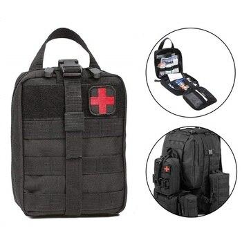 Kits de primeros auxilios para agua al aire libre, mochila de viaje Oxford, paquete de cintura táctica, bolsa de escalada para acampar, funda negra de emergencia