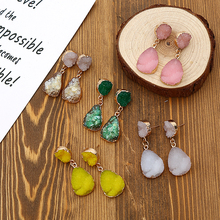 Crazy Feng Cherry Earrings For Women Handmade Green Yellow Natural Stone Long Hanging Druzy 2019 Korean Mujer Jewelry