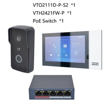 DH logo Multi-Language IP Video Intercom KIT,include VTO2111D-P-S2 & VTH2421FW-P & PoE