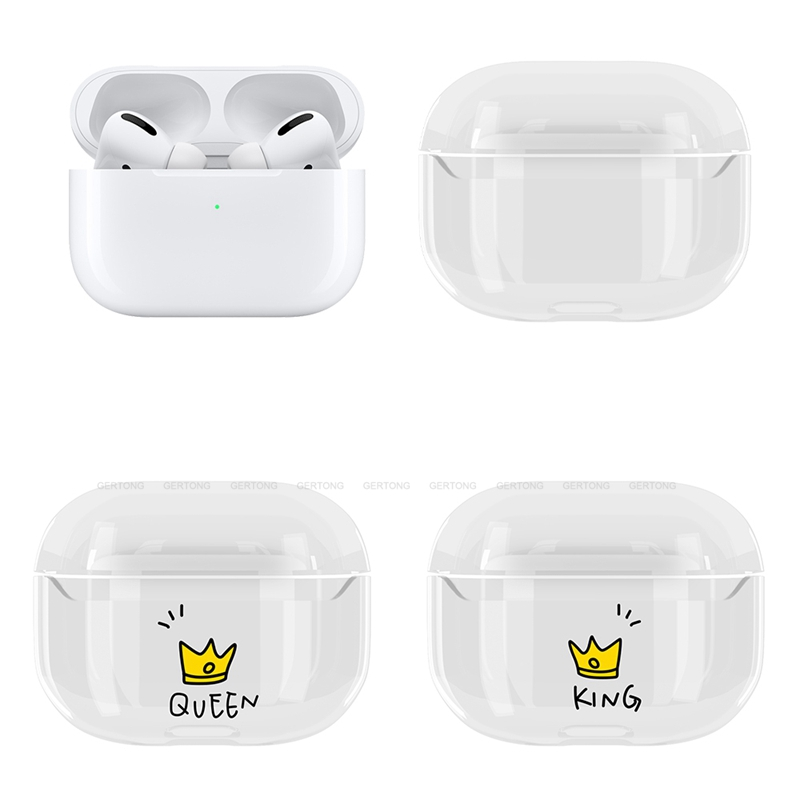 Cute King&Queen Hard PC Case For Apple Airpods Pro Transparent Case Headphone Accessories For Air Pods 2 1 Cover Case Shell Capa