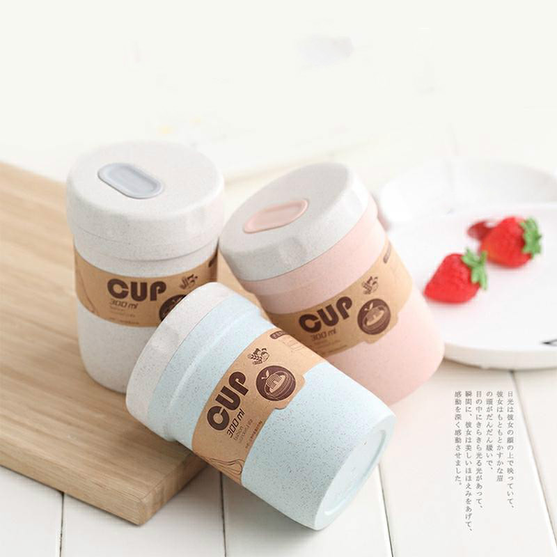 Portable Wheat Straw Lunch Breakfast Drink Porridge Cup Breathable Sealed Soup Cans To Work Soup Cup Creative LunchBox YHJ101908 image
