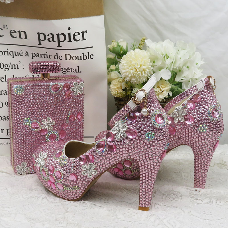 Women wedding shoes Bridal Pink crystal party shoes with matching bags fashion high heels platform shoes Woman Round Toe Pumps