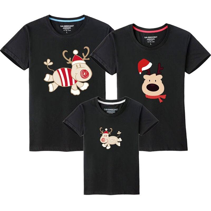 Семейный костюм для папы, мамы и ребенка; одинаковые рождественские комплекты для семьи; футболка для мамы и дочки; одежда с короткими рукавами для папы и сына - Цвет: Black