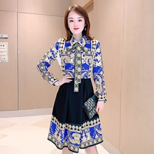 Sexy shirt work Dress 2019 New High quality Spring autumn ladies printing Bow dress Full sleeve Sweet Women sexy party dresses