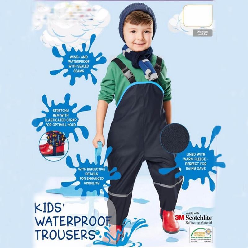 Boys and girls suspenders beach pants children rain pants waterproof ski pants windproof bib pants 4