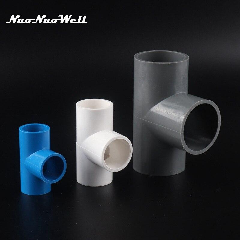 1pc 20 25 32 40mm Three-Way Adaptador Conector T PVC Tubulação Do Tanque De Peixes Do Aquário de irrigação Do Jardim acessórios Para Tubos De água