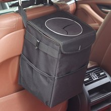 Practical Foldable Car Trash Can with Lid Storage Pockets Leak-Proof Organizer Waterproof Auto Garbage Bag Oxford cloth/PU