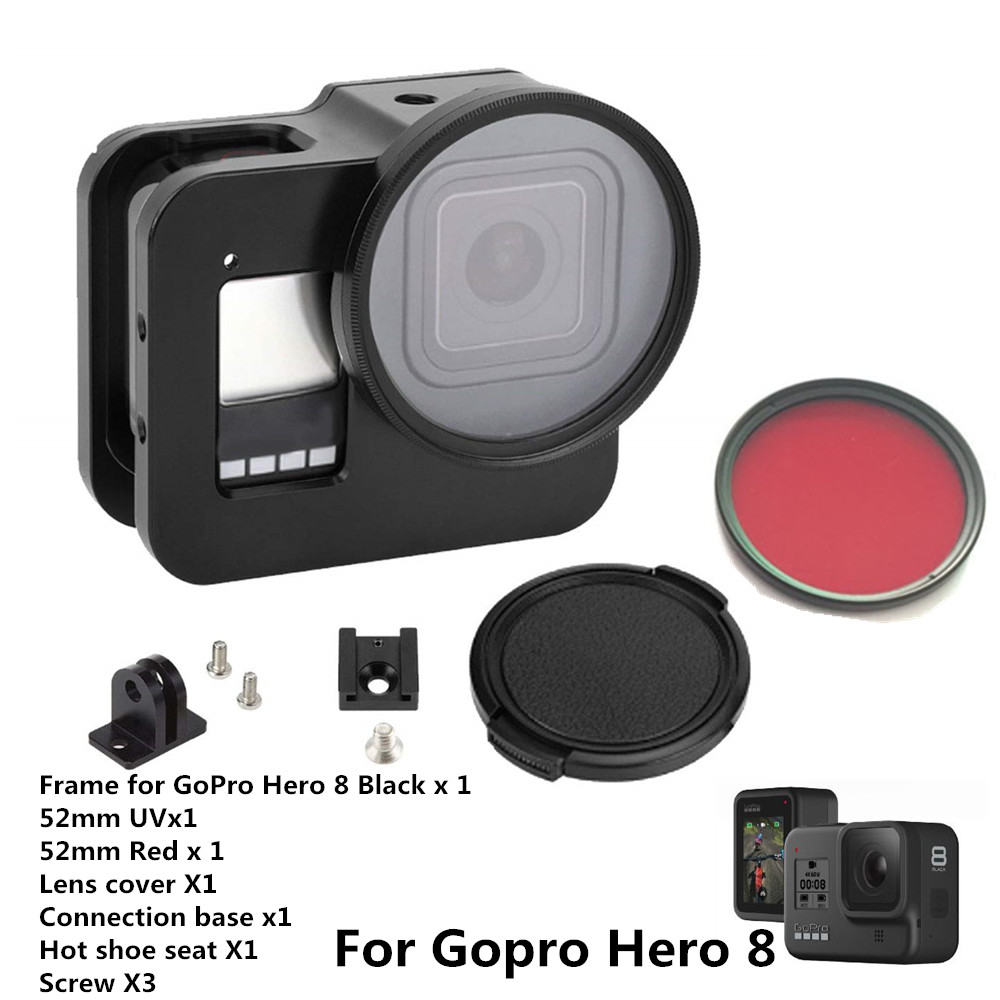Anordsem for GoPro Hero 8 Black CNC Aluminum Alloy Housing Shell Case Protective Cage with Insurance Frame & 52mm UV Lens Mount(China)