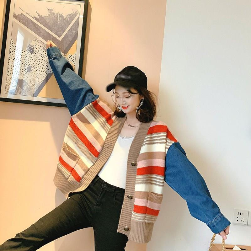 Women Denim Batwing Sleeve Loose Cardigan Autumn And Winter Casual Sweaters Pockets Striped V-Neck Plus Size Cardigans