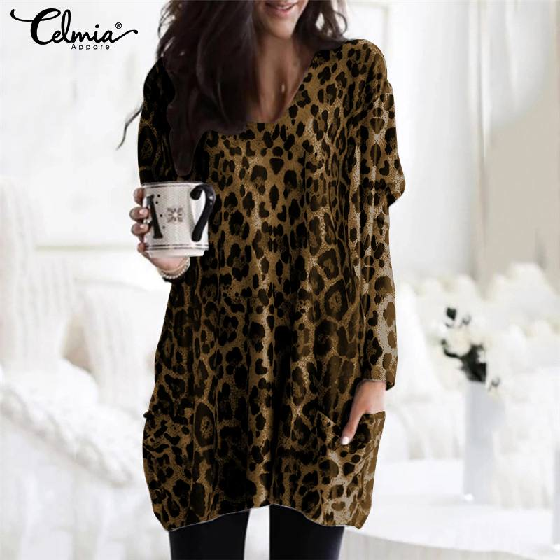 Oversized Women Leopard Print Tunic Shirts Celmia 2019 Fashion Sexy V-Neck Loose Blouses Elegant Party Tops Casual Loose Blusas