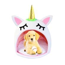 Kedi Unicorn yatak küçük köpek evi karikatür sevimli sağlam kulübesi küçük evde beslenen hayvan yatak tüm mevsim makine yıkanabilir Chinchilla evcil hayvan tek boynuzlu at yatak