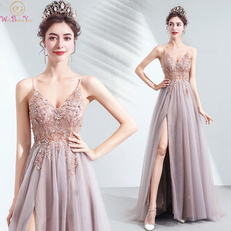 >Pink Beading Crystal Prom Dresses 2019 V neck Sexy <font><b>High</b></font> <font><b>Split</b></font> <font><b>Tulle</b></font> Spaghetti Straps A-line Backless Party Formal Evening Gowns