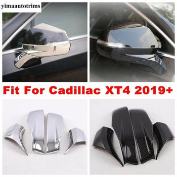Door Rearview Mirror Protective Caps Stripes Cover Trim ABS Chrome / Carbon Fiber Look Exterior Fit For Cadillac XT4 2019 - 2021 1