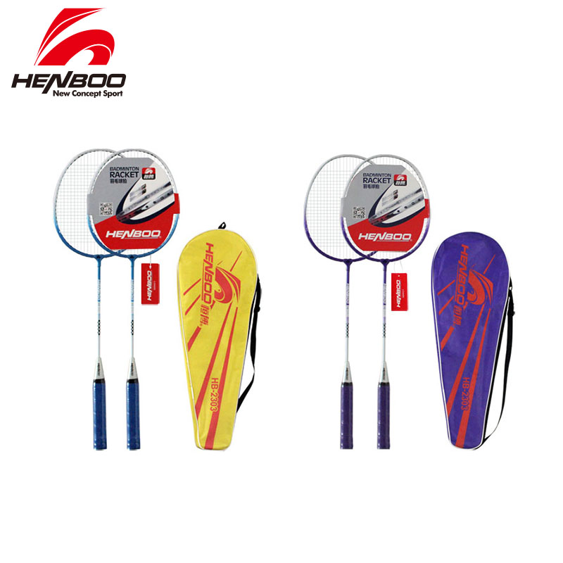 HENBOO Durable Badminton Racket Set Family Double Badminton Racket Titanium Alloy Lightest Standard Professional Badminton 2303
