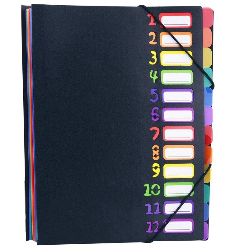 Extended Folder,12 Pocket Letters A4 Paper Item Sorter,Plastic File Storage Bag,Iridescent