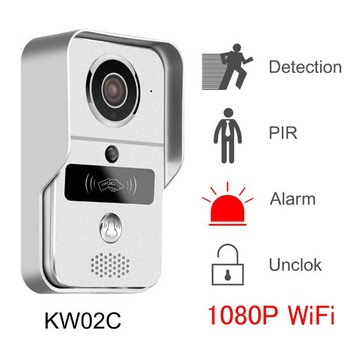 KW02C WIFI 1080P Doorbell  2.0MP Video PIR IR Night Vision Motion Detection Alarm Waterproof Door Phone POE Camera For ONVIF Hot babykam ip camera monitor ir night vision 2 way talk pir motion detection alarm wifi camera monitors for ios android max 32g