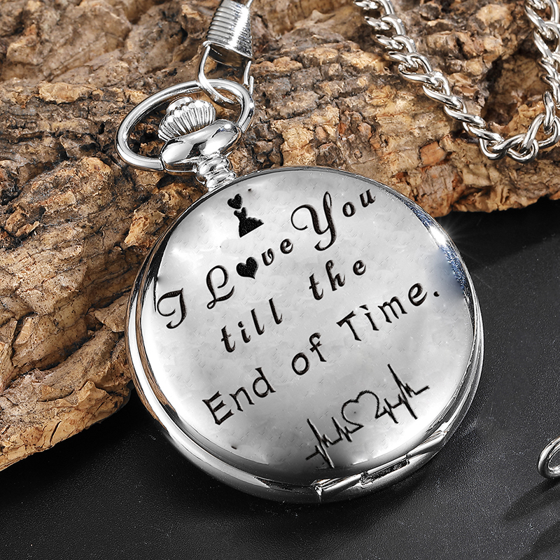 Quartz Pocket Watch Anniversary Present I LOVE YOU Engraved Pocket Watches Fob Chain Necklace Pendants Gift Reloj De Bolsillo