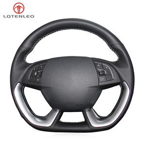 LQTENLEO Black Genuine Leather Hand-stitched Car Steering Wheel Cover For Citroen DS5 DS 5 DS5LS DS 5LS DS4S DS 4S DS6 DS 6