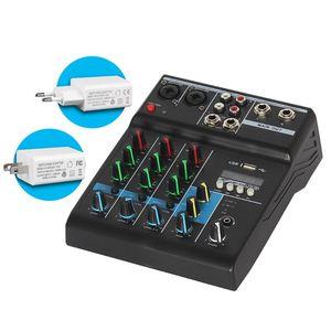 O misturador audio profissional 4 canaliza o console de mistura de som de bluetooth para o karaoke ktv com efeitos sonoros da placa de som de usb