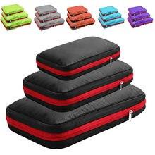Saco de armazenamento de compressão de dupla camada portátil bagagem de viagem organizador de roupas sacos de embalagem à prova dwaterproof água cubo dobrável