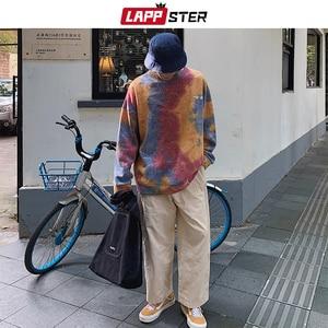 Image 4 - LAPPSTER גברים Harajuku עניבה לצבוע גדול נים 2020 סתיו Mens יפני Streetwear חולצות זכר כותנה היפ הופ הסווטשרט