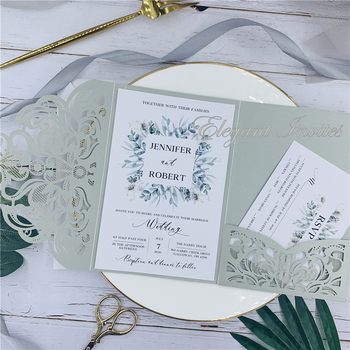 Elegant Gray Laser Cut ser Cut Wedding Invites Cards Greeting Card Customize Business With RSVP Cards Decor Party Supplies