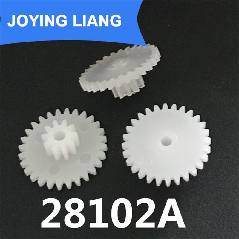 Пластиковая шестерня с помпоном диаметром 15 мм, 28 зубьев + 10 зубьев, двухслойная шестерня с отверстием 2 мм, аксессуары для игрушек DIY, 28102A 0,5 м