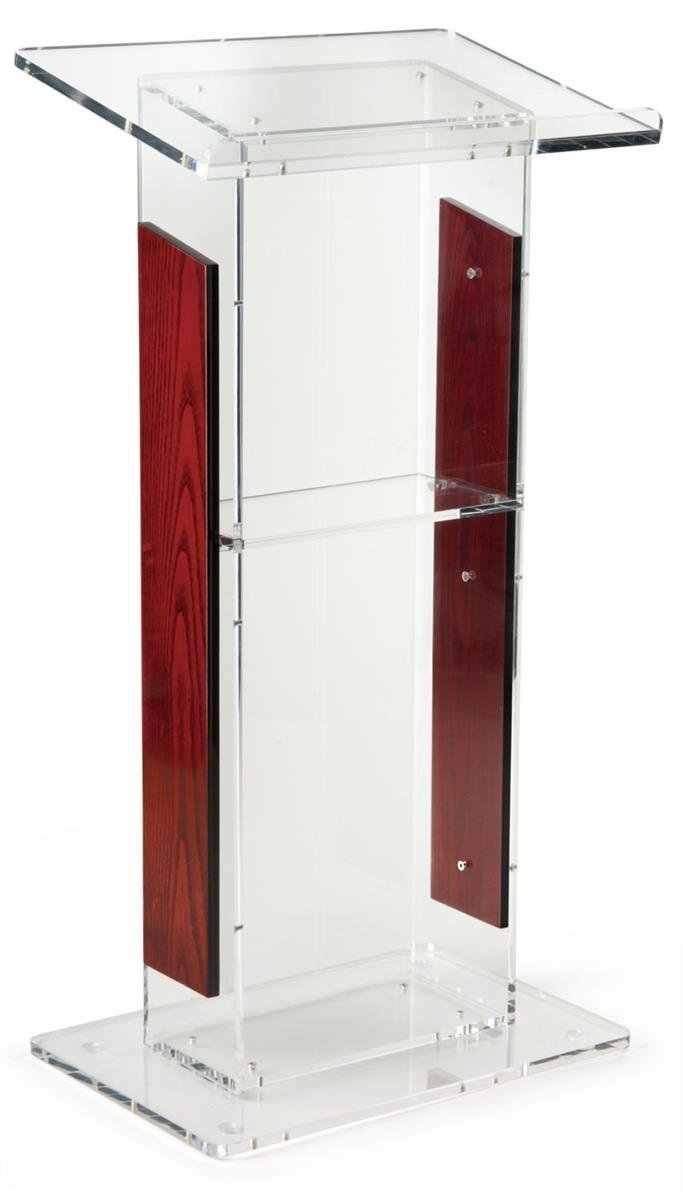 """Acryl Rednerpult mit Panels, Umfasst Abnehmbare Regal, auf Podium Oberfläche Einfach Zu Montieren Hardware Enthalten 46 """"H x23"""" W"""