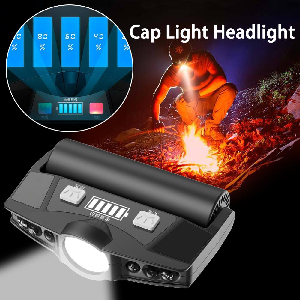 Headlamp USB Cap Light LED Rechargeable High Light Motion Sensor Adjustable Lamp Clip Light Waterproof 2200mAh Battery