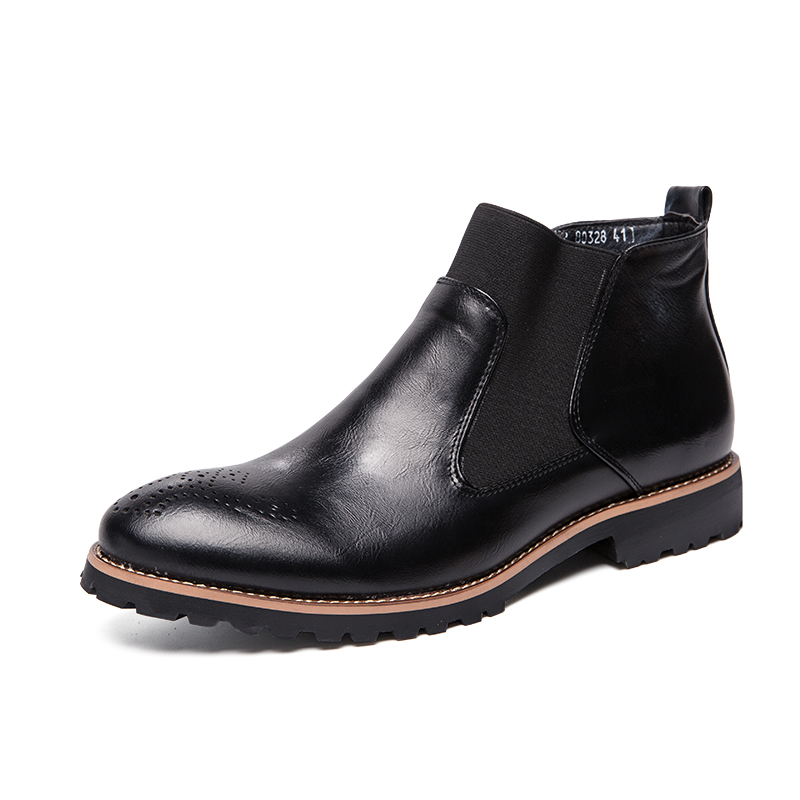 Men 39 s Boots Autumn Leather Chelsea Boots Brogue Style Men Ankle Boots Breathable Formal Boots Man High Top Casual Shoes in Chelsea Boots from Shoes