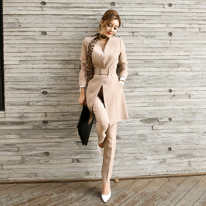 Women's Suit Fashion Elegant Office Work Wear Blazers Jackets With Belt Silk Scarf &Trousers 2 Piece Outfits Pants Suit Women
