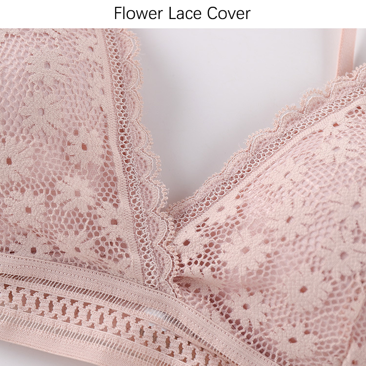 Sexy Floral Lace Bra Top For Women Push Up Female Lingerie Breathable Bralette Removable Pad Thin Wireless Bras 5