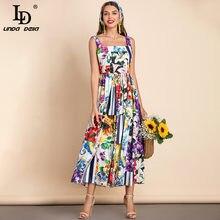 LD LINDA DELLA 2021 Summer Fashion Runway abito in cotone donna cinturino per Spaghetti bohemien stampa floreale vacanza elegante abito Midi