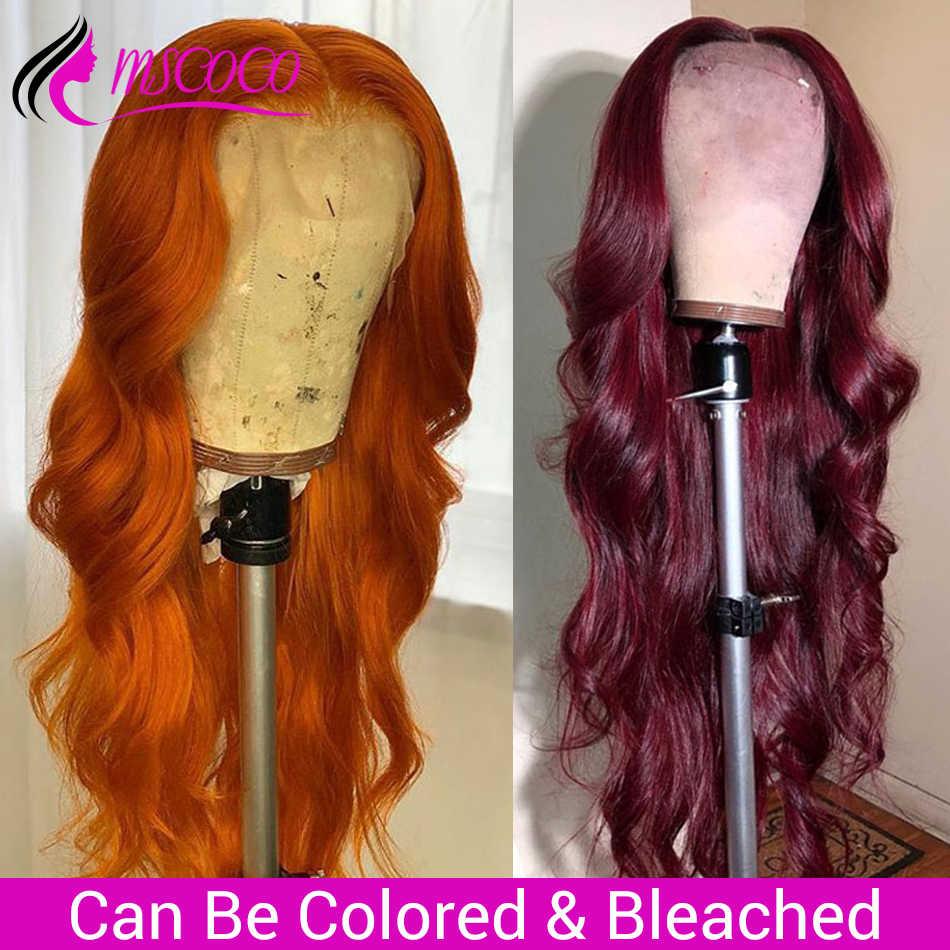 Mscoco cuerpo onda de encaje frente pelucas de cabello humano 360 peluca Frontal de encaje Pre arrancado con el pelo del bebé 250 de densidad brasileño peluca con malla Frontal