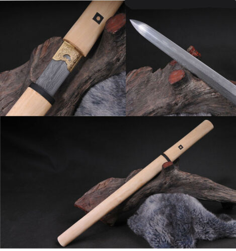 WHITEWOOD DAMASCUS FOLDED STEEL BLADE HAND MADE JAPANESE SWORD VERY BEAUTIFI