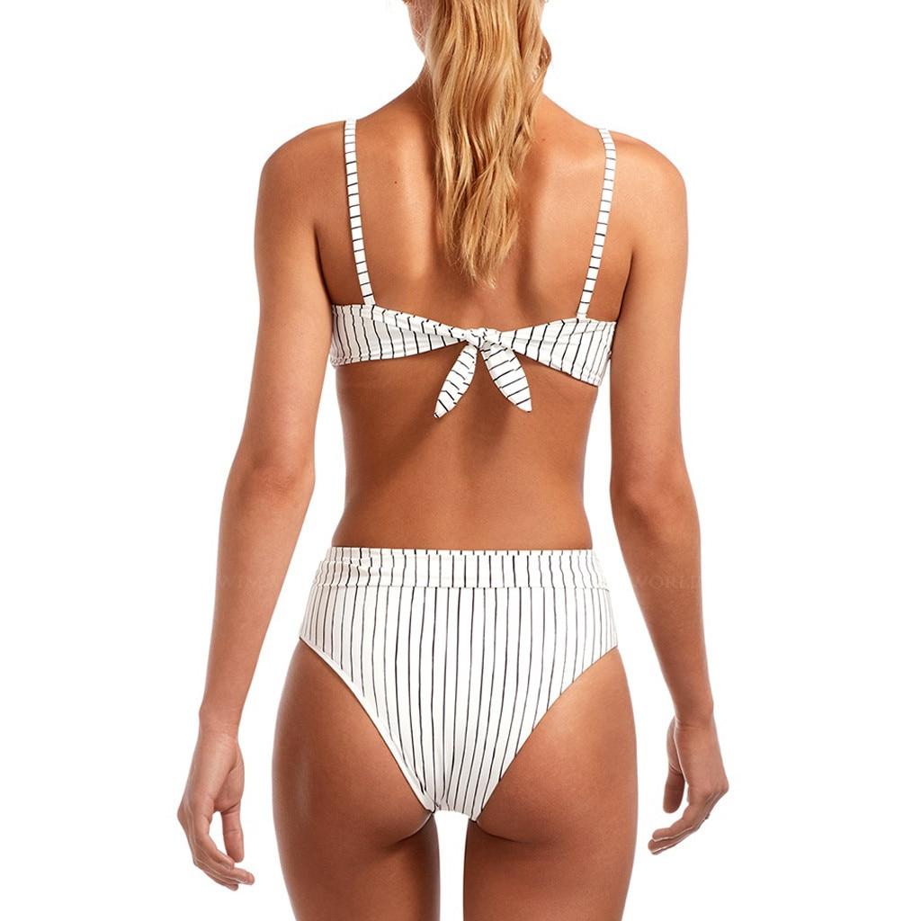 Sexy Striped Bikini Set Women Off Shoulder Bandage Bikinis Bathing Suit Summer Swimsuit Female Beachwear Monokini Swimwear#Y20 9
