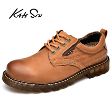 Buy KATESEN Men Shoes Genuine Leather Casual Shoes High Quality Outdoor Work Rubber Sole Sneakers Men Oxford Shoes Zapatillas Hombre directly from merchant!
