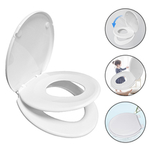 Toilet Seat with Built-In  Seat Removable that will Never Loosen  Seat Quiet Close V Shape