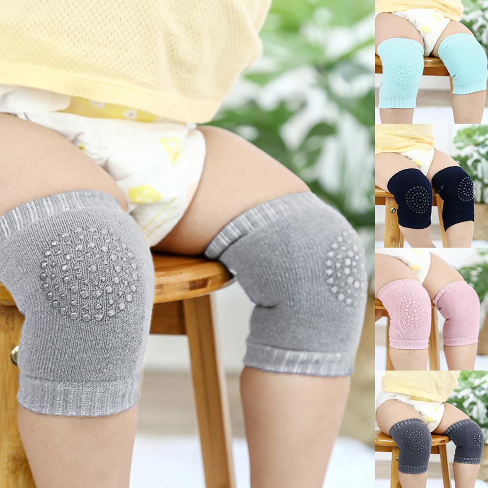 1 Pair Unisex Baby Solid Color Crawling Anti-Slip Kneepads Knee Protector Cover New