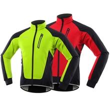 Jacket ARSUXEO Winter Cycling Windbreaker Bike Wind-Clothing Bicycle Reflective Fleece