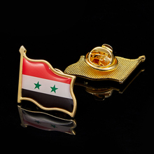 Syria Patriotism National Flag Lapel Pins Metal Plated Patriotism Safety Pins Badge Brooch iraq patriotism gold plated waving colorful national flag lapel safety pins 19 x 21mm