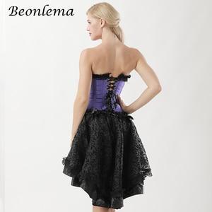 Image 5 - Beonlema Steampunk สีม่วงเซ็กซี่รัดตัวชุด Gothic Korset Punk Goth ฉัตรกระโปรง Overbust Bustiers Lace Up Top Plus ขนาด Korse