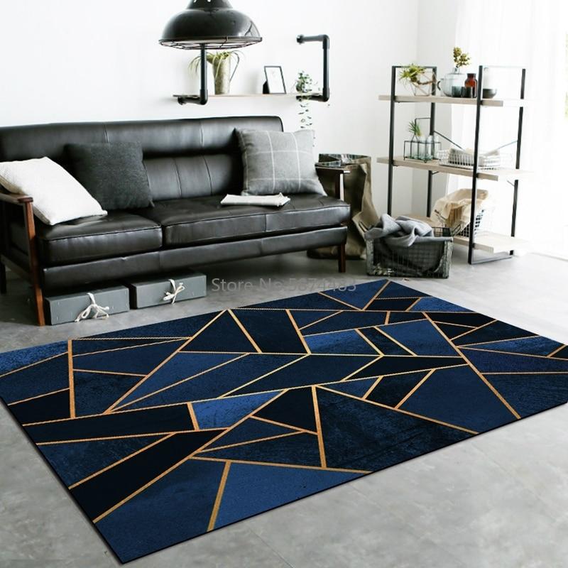 Luxury Dark Blue Black Carpet Golden Line Geometric Living Room Sofa Area Rugs Tapete Crystal Non Slip Bedroom Kitchen Floor Mat Carpet Aliexpress