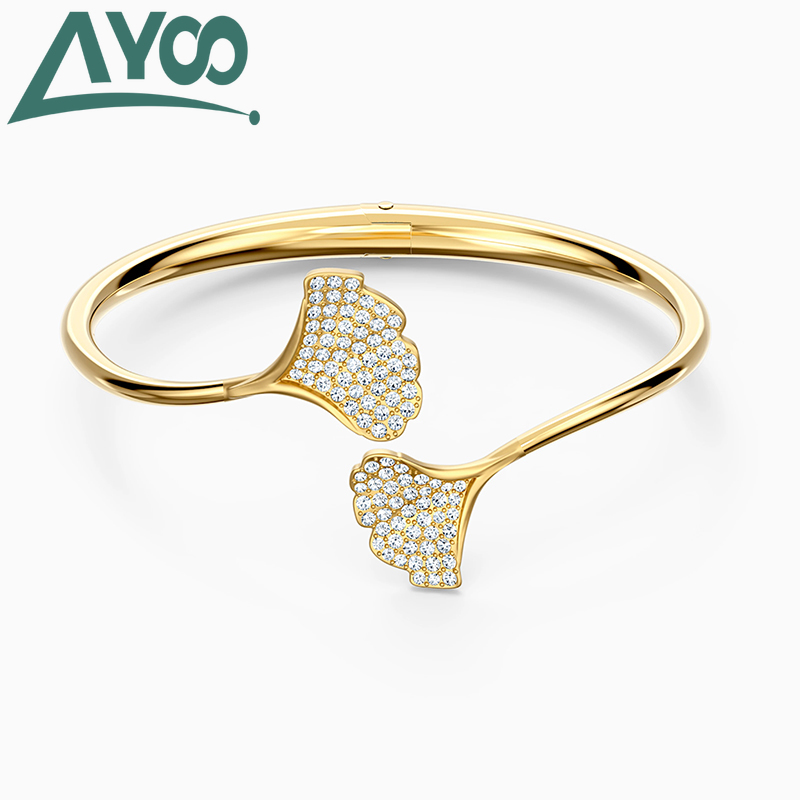 AYOO 2020 high quality fashion SWA new charm opening ginkgo leaves exquisite crystal women's bracelet gift for ladies