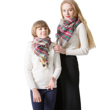 Winter New Parent-child Cashmere Plaid Scarf Neck Bandana Fashion Triangle Warm Child and Adult Two-piece Shawl Pashmina