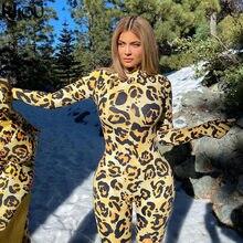 Kliou – combinaison imprimé léopard pour femme, vêtement moulant, moulant, moulant, col montant, automne 2021