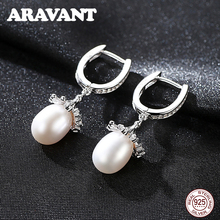 New 100% Authentic 925 Sterling Silver Flowers Freshwater Pearls Drop Earrings For Women Fashion Jewelry